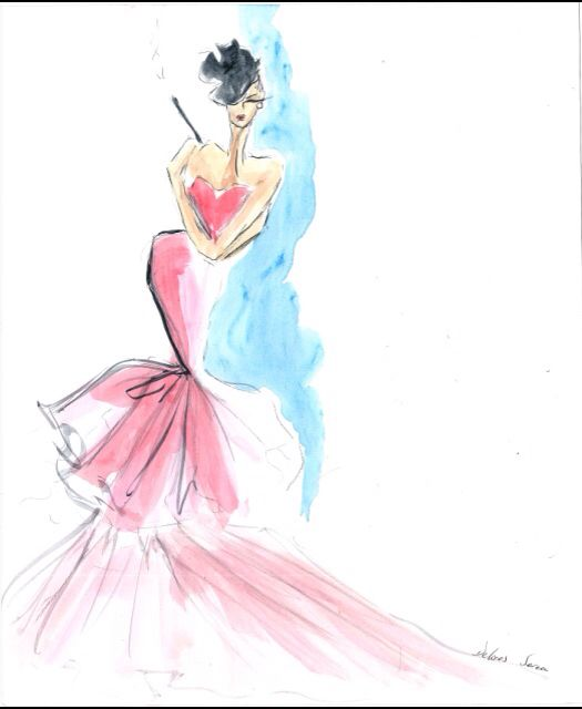 Couture figure in watercolor