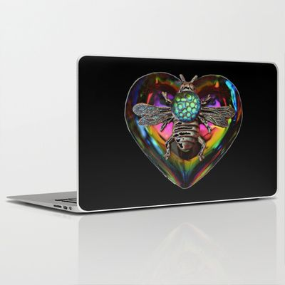 Mentalembellisher Psychedelic Rainbow Heart Necklace with Silver Bee & Vintage Snakeskin Helio Glass Laptop & iPad Skin by mentalembellisher - $30.00