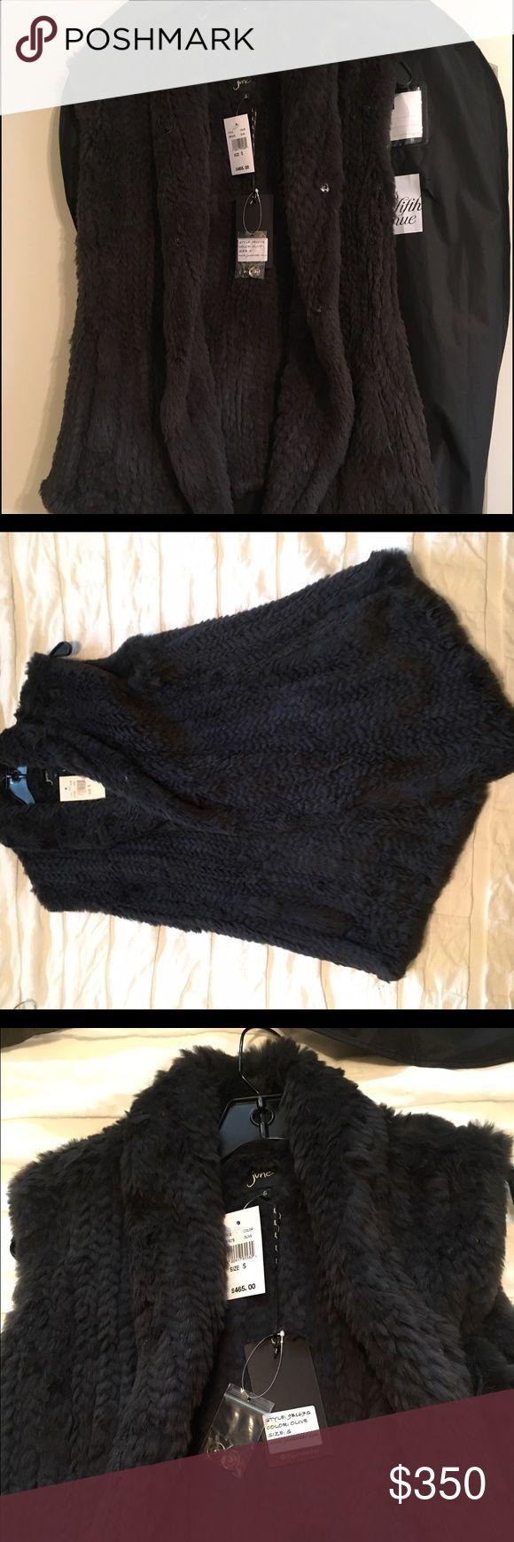 Rabbit Fur Vest Olive, NWT, rabbit fur, NO TRADES june Jackets & Coats Vests
