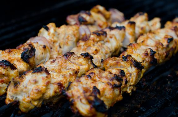 yogurt-marinated chicken kebabs were pretty good! thighs would probably be more tender than breasts but still a hit. cc: @Audrey Priel