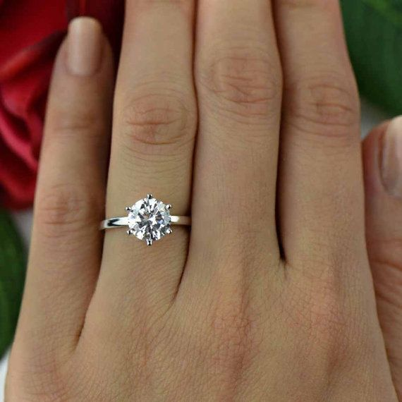 2 ct Classic Solitaire Engagement Ring, Man Made Diamond Simulant, 6 Prong Wedding Ring, Bridal Ring, Promise Ring, Sterling Silver