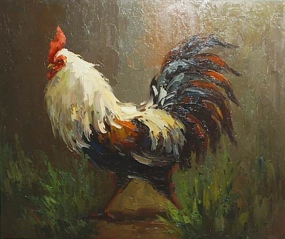Rooster Oil Paintings | rooster painting, apalette knife paintings reproduction, we never sell ...