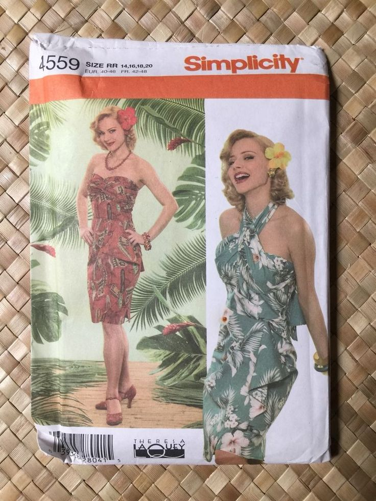 Hawaiian/Tiki Sarong Halter Dress XL Simplicity 4559 repro 50s Hawaiian/Tiki/Luau sarong dress  Large Size RR: 14, 16, 18, 20, EUR 40-46.Convertible style to wear as strapless or halter.complete uncut sld 15.5+4.53 2bds 10/20/17