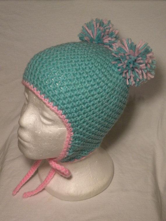 Crocheted Pom-Pom Hat w/ Earflaps: Crocheted Pom Pom, Crochet Ideas, Pom Poms, Doodleboop Designs, Crocheted Hats