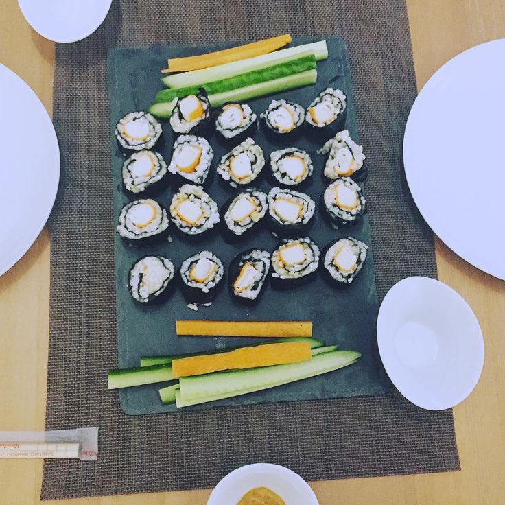 My first home made sushi from surimi, sushi rise and nori. Perhaps with soy sauce and spicy peanut sauce.  #sushi #sushi #nori #rise #surimi #carot #cucumber #peanut #soy #soysauce #dinner #dinnertime #healthyeating #healthyrecipe #alga #eatclean #lowcarb #lowcarbdiet #nutrition #nutritious #nourish #recipe #calories #dietfood #tasty #homemade #healthyfoodshare #firsttime #nourishyourbody #nourishcookrecipes