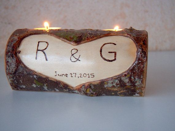 Wood Stump Candle Holder Candle Holder with 2 by PebblesAndWoods