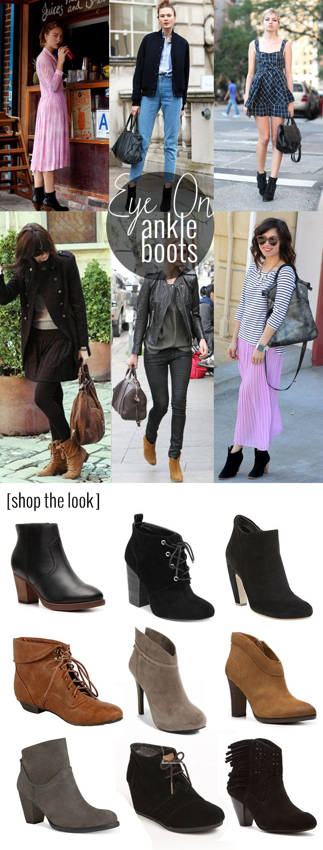 A roundup of 9 ankle boots that are perfect for fall, and some inspiration on how to wear them.