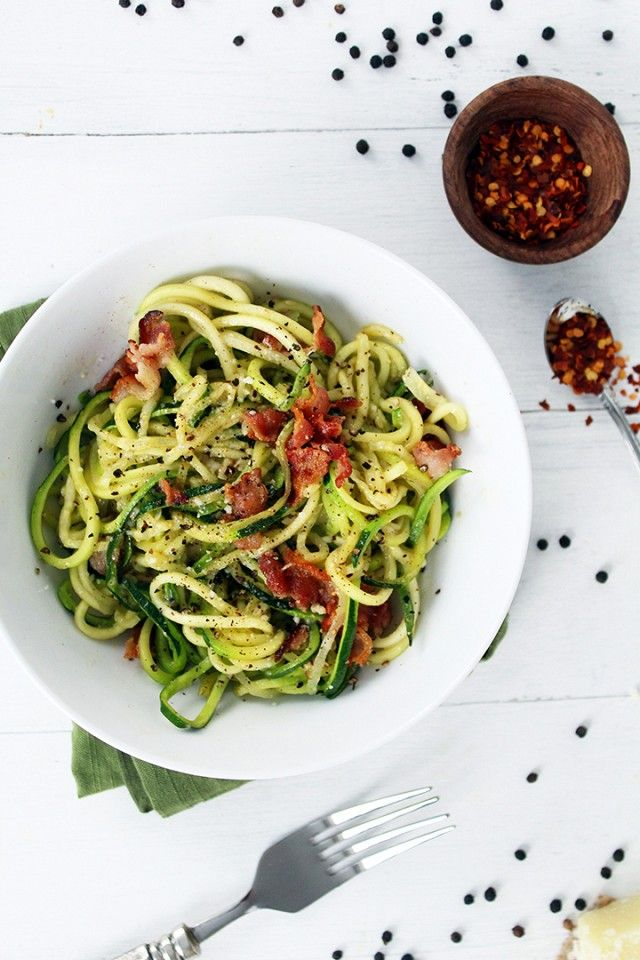 """SPIRALIZER: Cacio e Pepe -This Italian classic pasta dish, which means """"cheese and pepper,"""" gets a spiralized twist with zoodles instead of pasta and the satisfying addition of strips of bacon. Yum."""