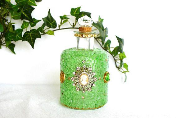 Glasflasche Parfum Flakon Handarbeit Dekoflakon Mosaik