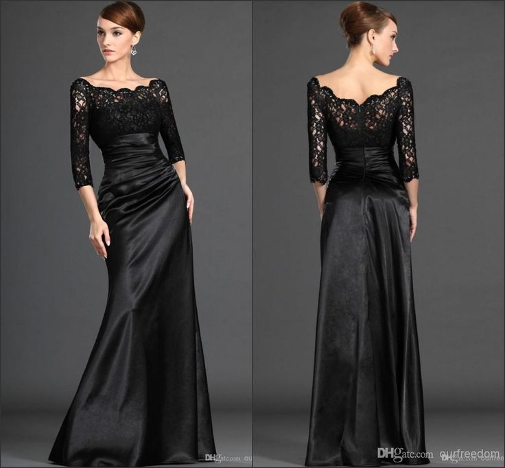Wholesale Mother of the Bride Dresses - Buy 2014 New Lace Mother Of The Bride Dresses With Bateau 3/4 Long Sleeve Backless A Line Floor Length Stretch Satin Black Evening Party Gowns, $107.44   DHgate