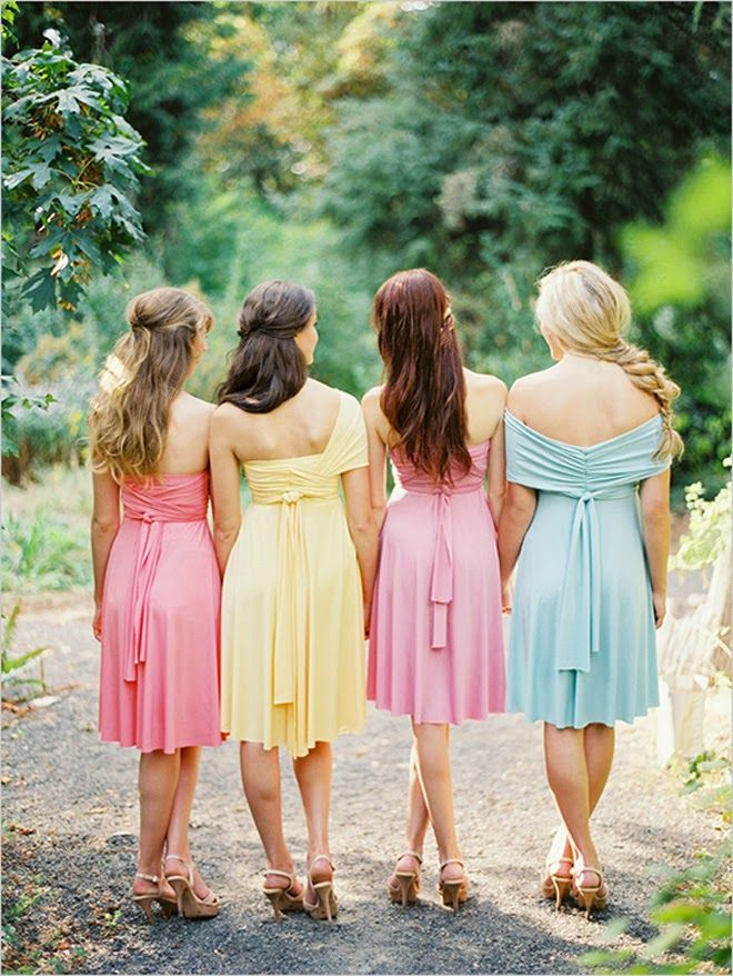 Dessy  Twist Wrap Dress Pink Yellow baby blue bridesmaid gowns