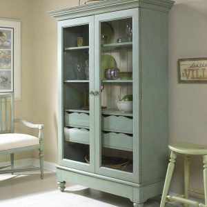 glass display cabinet corner unit silver