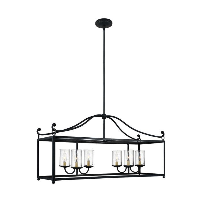 The six light single tier chandelier in antique forged iron provides abundant light to your home, while adding style and interest. The lighting collection is a series of large, traditional lanterns featuring open frames finished in Antique Forged Iron. The bulbs are surrounded by Clear Seeded glass shades to add warmth, depth and sparkle. The light fixtures can easily be converted to LED with the choice of an LED replacement bulb.