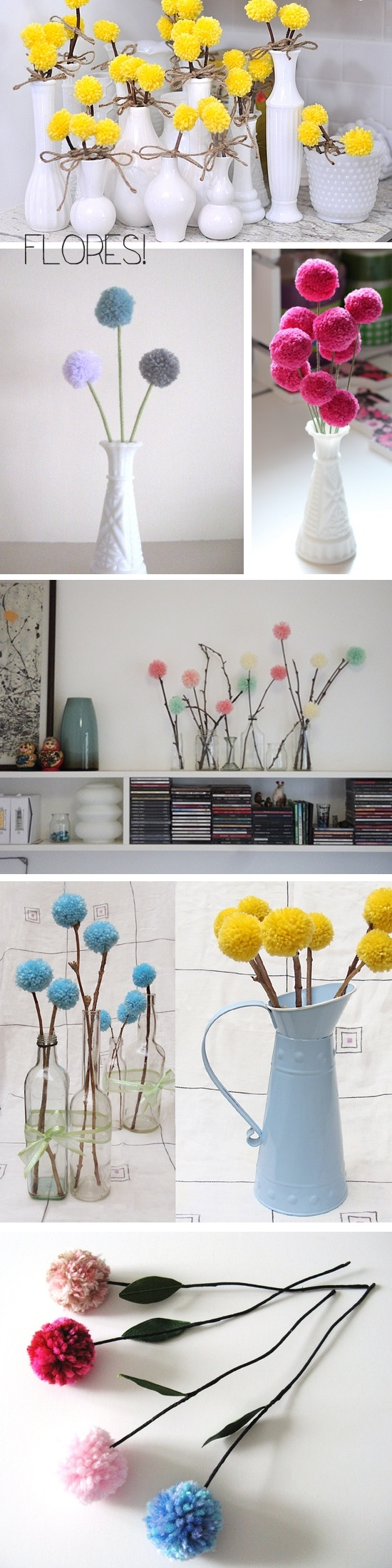 Pompom-flowers, simple, easy, nice decoration, changeable in color and seasons...