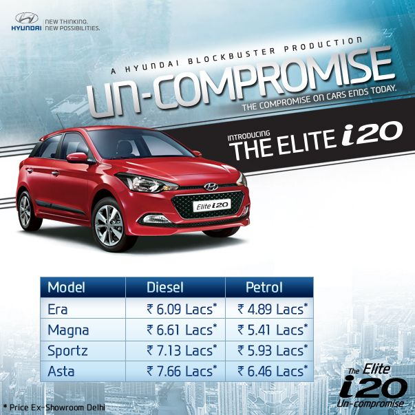 The compromise on cars ends today! Hyundai India reveals the prices of all the exciting variants of TheElitei20! Make #TheElitei20 your dream car today.