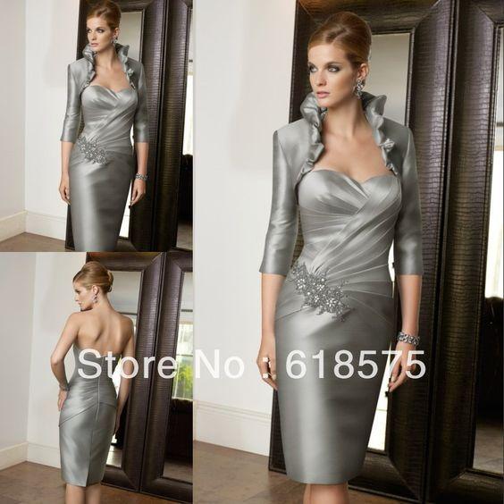 Cheap Elegante vaina sin tirantes de plata lf2739 madre del novio de la novia…