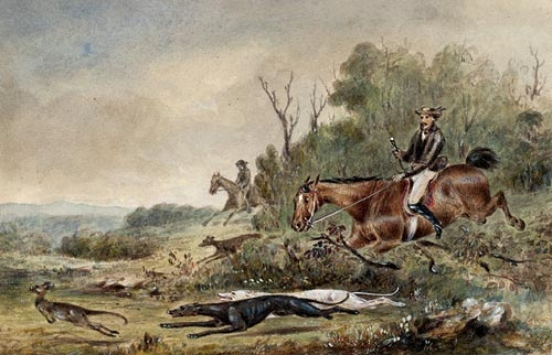 Kangaroo hunting by Thomas Balcombe (1810–1861).    Find more detailed information about this image: http://acms.sl.nsw.gov.au/item/itemDetailPaged.aspx?itemID=836283  From the collection of the State Library of New South Wales:  www.sl.nsw.gov.au