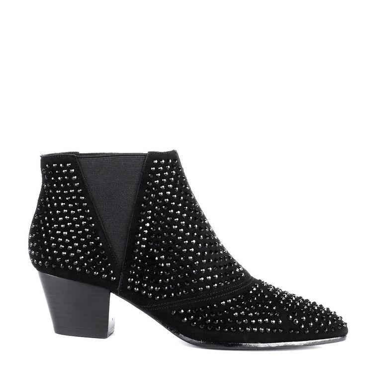 Ash HYPNOTIC Ankle Boots Black Suede & Diamante