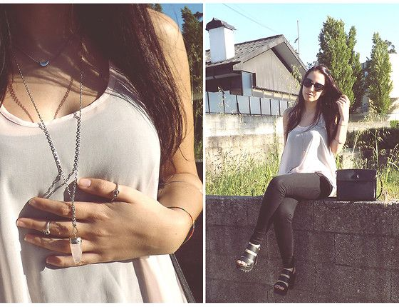 Seaside Black Sandals, Primark Pink Top, Rings & Tings Knot Ring, Born Pretty Star & Moon Ring, Bershka Moon Necklace