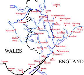 River Severn: longest river in the UK; about 220 mi; the 2nd longest in British Isles, behind the River Shannon; rises in the Cambrian Mountains of mid Wales, flows through Shropshire, Worcestershire & Gloucestershire; greatest river in terms of water flow in England & Wales