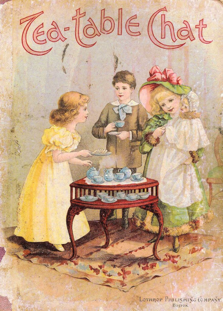 Victorian Storybook Cover with Children at Tea Party