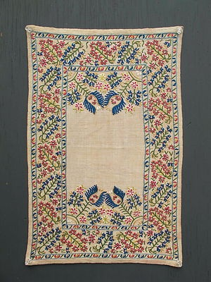 ANTIQUE OTTOMAN SUZANI GREEK ISLANDS EPIRUS EMBROIDERY TAPESTRY, 21 by 14 inches.