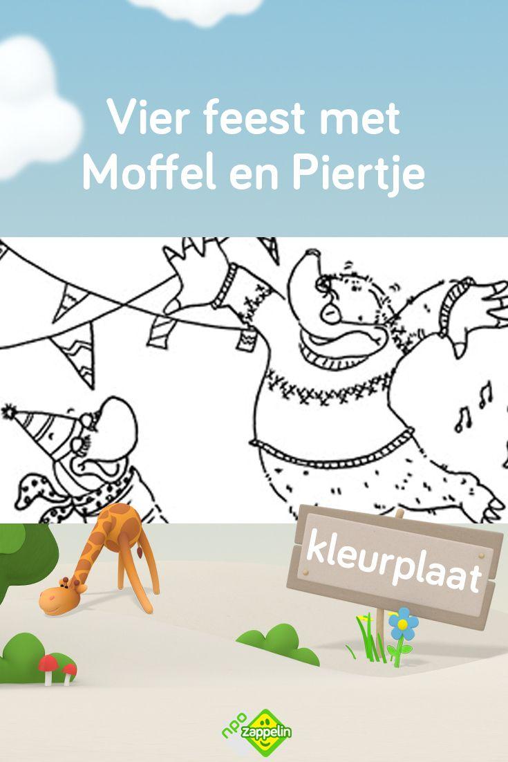 Kleurplaat Vier Feest Met Moffel En Piertje Verjaardag Diy Verjaardag Kinderfeestje