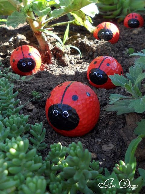 Use old golf balls as lady bug decorations in the garden. Adorable! All you need is some paint.