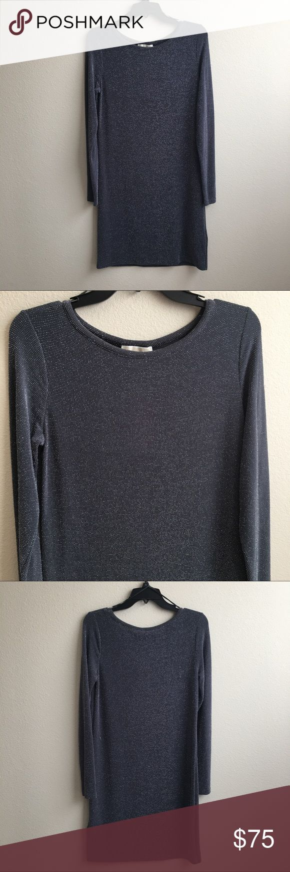 """Michael Kors Gray Long Sleeve Dress NWT Michael Kors dark gray dress. Has long sleeves, a scoop neck and metallic detail throughout. Made of a nylon stretchy material. L 35 1/2 x W 18"""" approximately. Michael Kors Dresses Long Sleeve"""