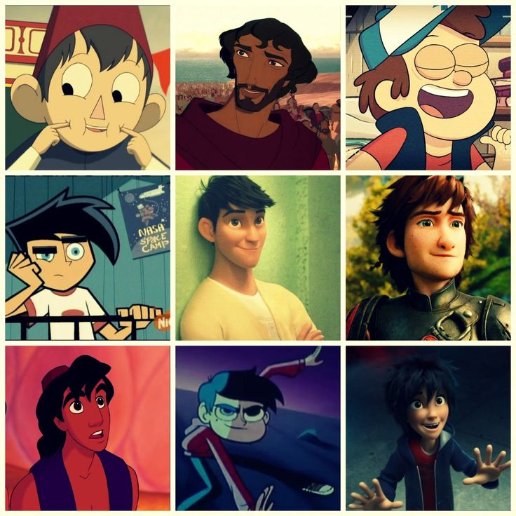 Left to right : wirt-over the garden wall(mini series), Moses-prince of Egypt (film), Dipper - gravity falls(tv show ) Danny phantom (tv show) tadashi- big hero 6 (film) hiccup-HTTYD (film) Aladdin(film) Marco - star vs the forces of evil (tv show ) and Hiro BH6 (film)