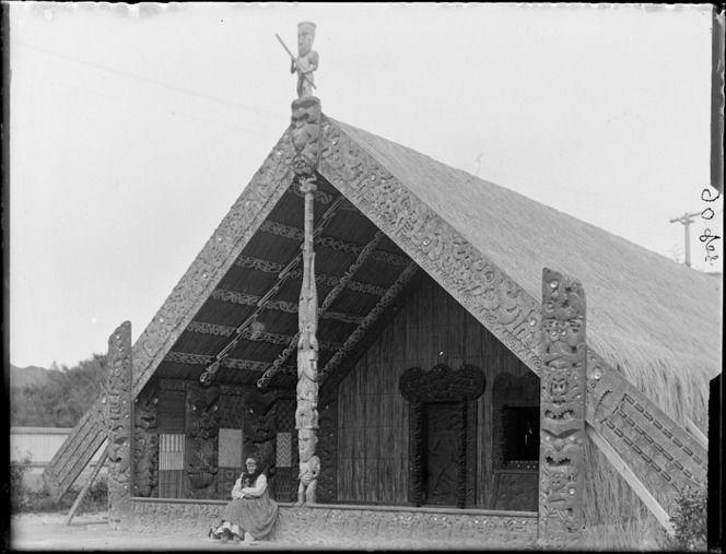 Sophia Hinerangi sitting outside Te Rauru meeting house, Whakarewarewa, Rotorua region