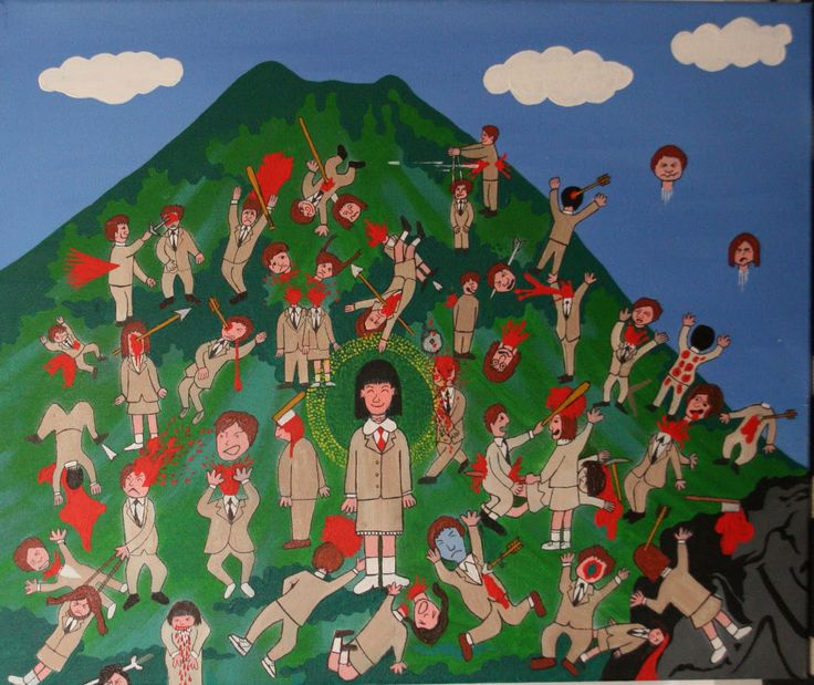 Here is a painting by Takeshi Kitano that appears in the movie version of Battle Royale that was written by Koushun Takami.