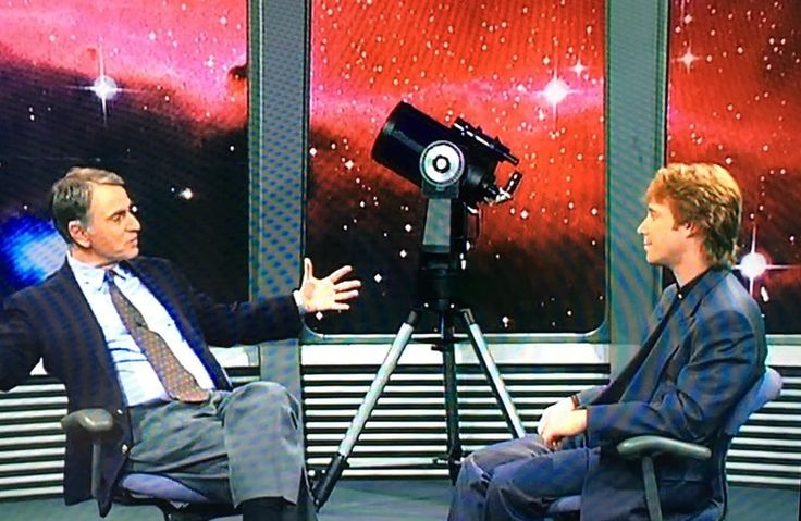 """Bill Mumy interviewing the great Carl Sagan, on """"Inside Space"""" 1993."""