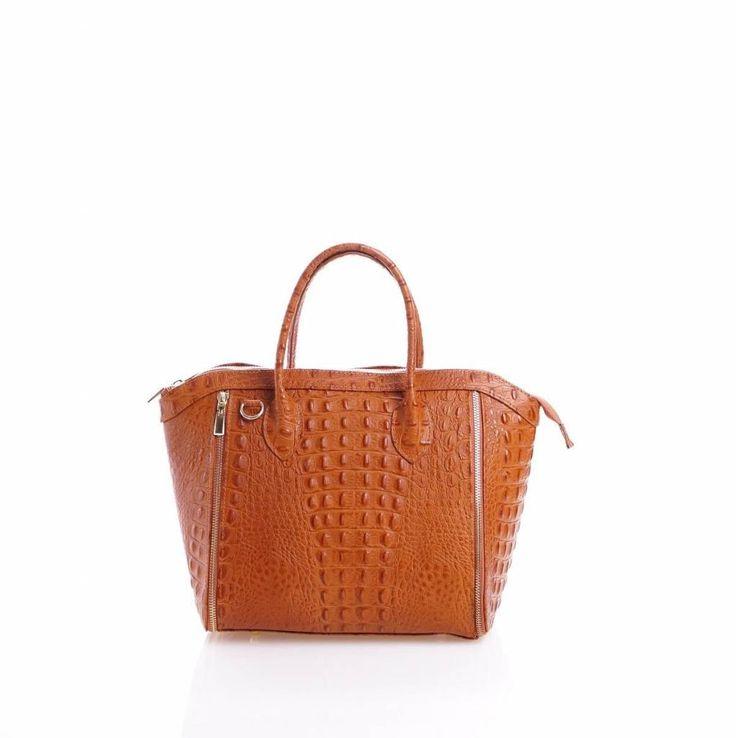 - Leder handtas met kokosnoot print cognac kleur