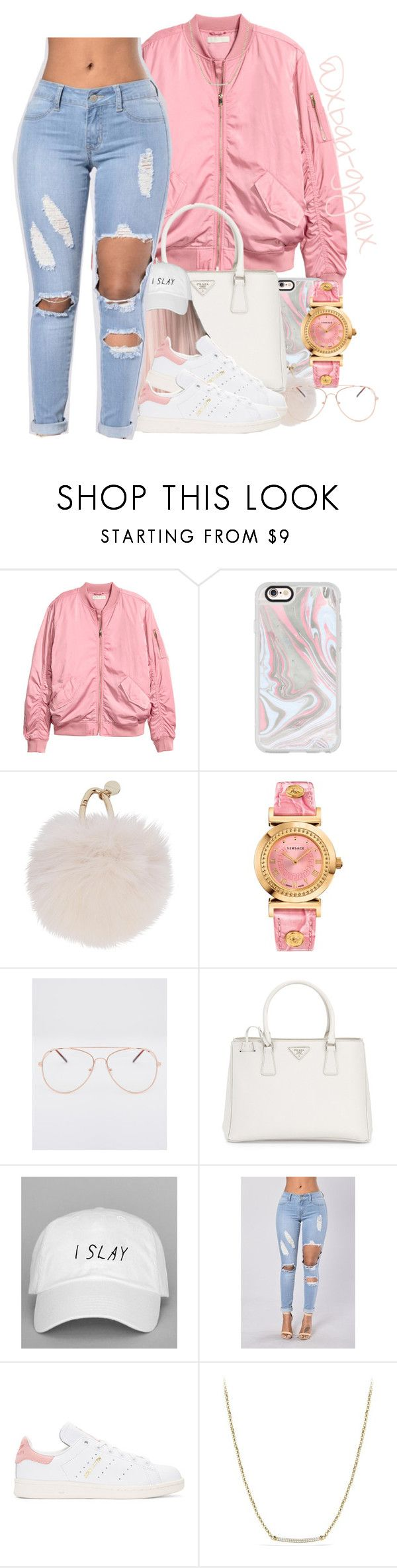 """$$$"" by xbad-gyalx ❤ liked on Polyvore featuring Casetify, Yves Salomon, Versace, Prada, adidas Originals and David Yurman"