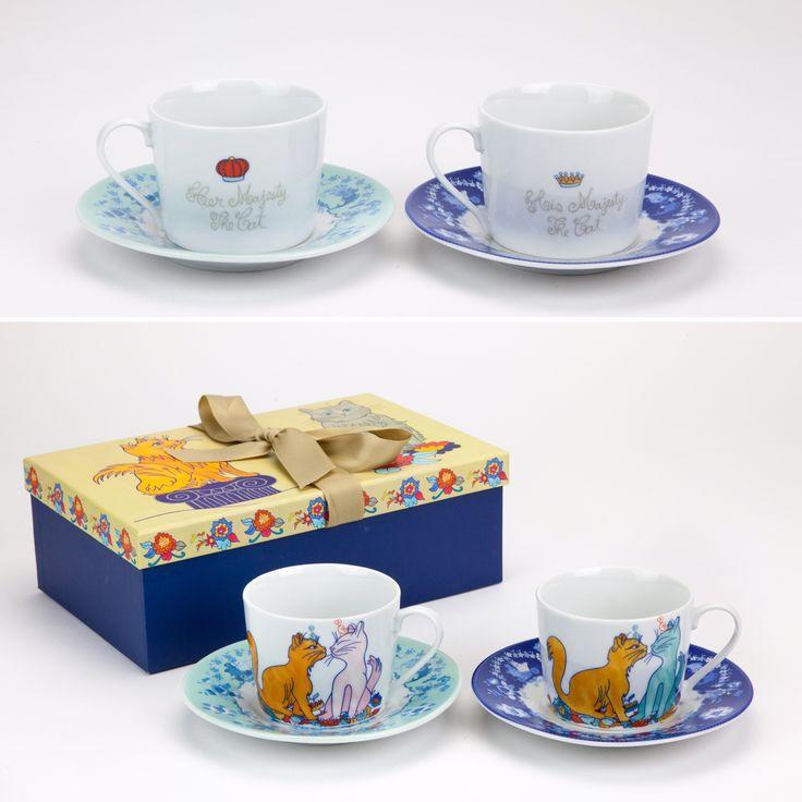 Conjunto de 2 Chávenas de Chá Her Majesty The Cat | A Loja do Gato Preto | #alojadogatopreto | #shoponline | referência 130666713