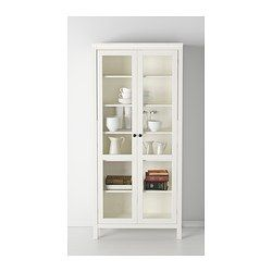 IKEA - HEMNES, Glass-door cabinet, white stain, , Solid wood has a natural feel.With a glass-door cabinet, you can show off as well as protect your glassware or your favorite collection.The shelves are adjustable so you can customize your storage as needed.1 stationary shelf for high stability.You can hide multiple power strips, etc under the removable bottom shelf.Adjustable feet for stability on uneven floors.The door's integrated dampers enable it to close slowly, silently and sof...