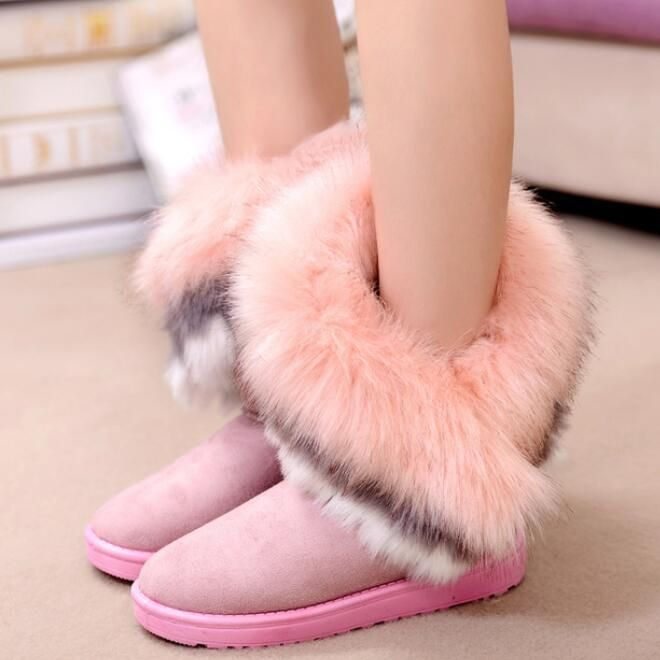 Womes Fur Ankle Boots Flat Shoes Round Toe Winter Snow Warm Fashion Girls A322