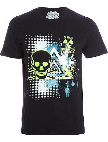 Tee-shirt tête de mort fluo pour Kiabi Homme, printemps été 2013