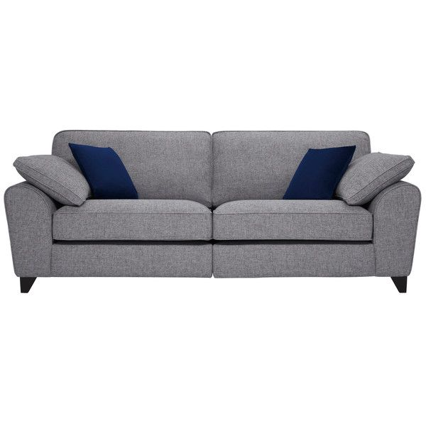 Silver With Blue Fabric Sofas 4 Seater Sofa Robyn Range Oak Furnitureland Oak Furniture Land Fabric Sofa Sofa
