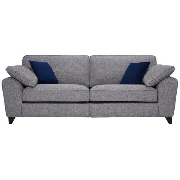Silver With Blue Fabric Sofas 4 Seater Sofa Robyn Range Oak Furnitureland Oak Furniture Land Fabric Sofa Sofa