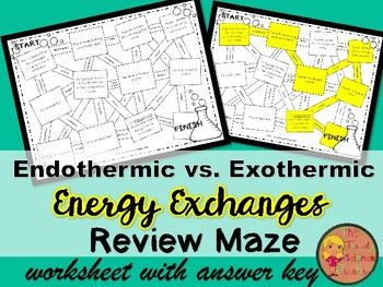 Provide your students with reinforcement over Endothermic & Exothermic Reactions with this ENERGY EXCHANGES REVIEW MAZE! Use as a homework assignment, end of lesson assessment, or as part of a station activity. (My kids love to RACE to see who can finish first! ) I have included the answer