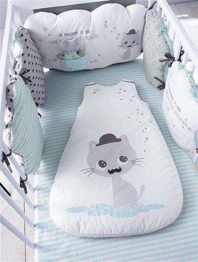 Tour de lit bébé modulable thème Miaous'tach GRIS/BLEU - vertbaudet enfant