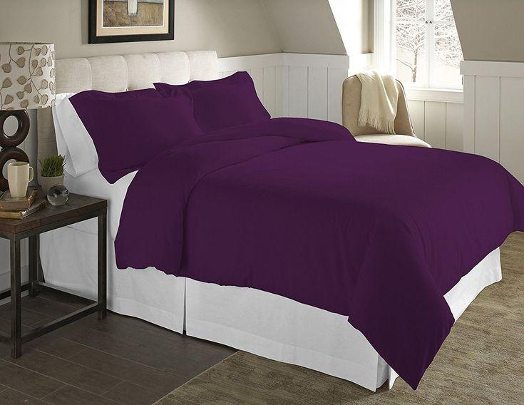 Purple Duvet Cover Set -  Pointehaven 3-Piece 200 GSM Flannel Duvet Cover Set, Full-Queen, Solid, Plum at luxcomfybedding.com