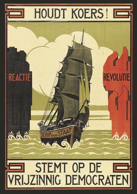 Verkiezingsposter uit 1922 van de Vrijzinnig-Democratische Bond (VDB)