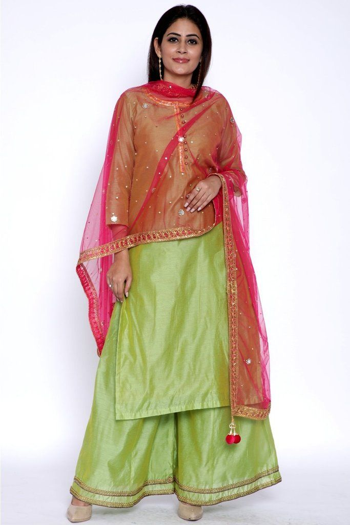 76a0681abd Lime Green Chanderi Kurti with Flared Palazzo and Pink Net Dupatta with  Mirrors