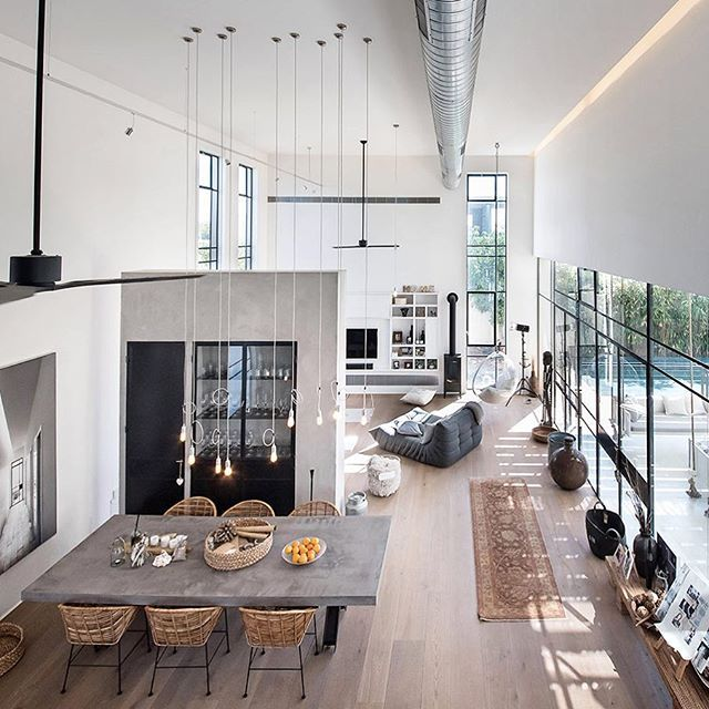 The kitchen dining and lounge has been contained in a double height open · loft house designsimple house designloft interior