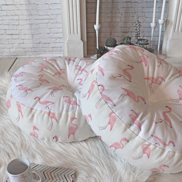 Fantastic Flamingos Round Floor Pillow | Wonder Forest