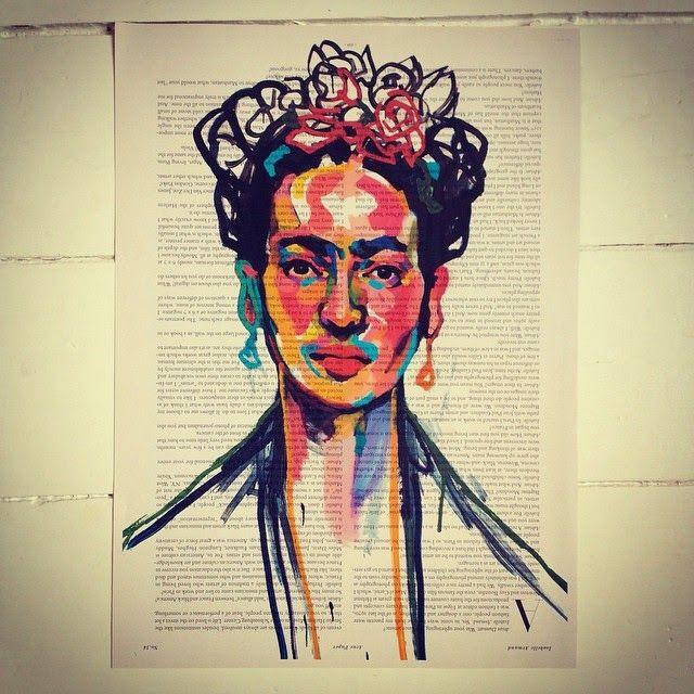Frida Kahlo, by Swedish Artist Emma Tingård. Art, painting, portrait, art poster, art print, news paper