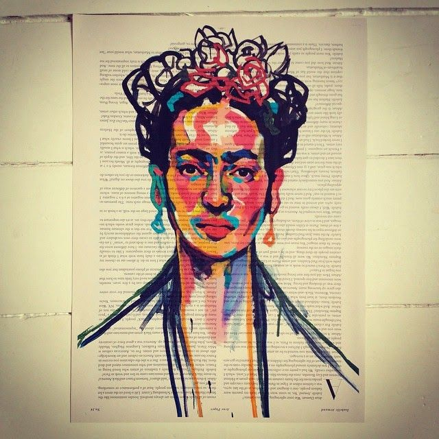 Frida Kahlo, by Swedish Artist Emma Tingård. Art, painting, portrait, art poster, art print, news paper